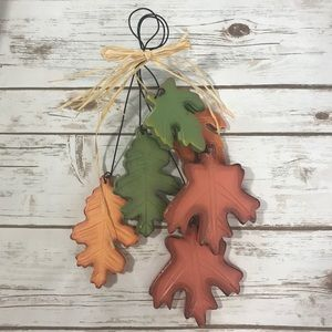 Farmhouse Fall Colored Leaves Decor Wall Hanging
